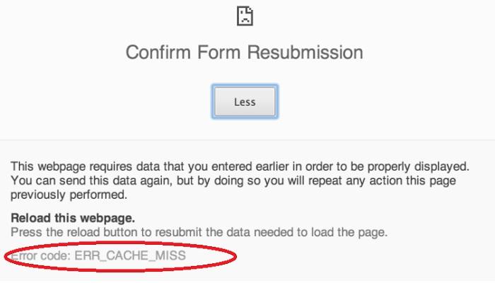 ERR_CACHE_MISS Error in Google Chrome [Solved]