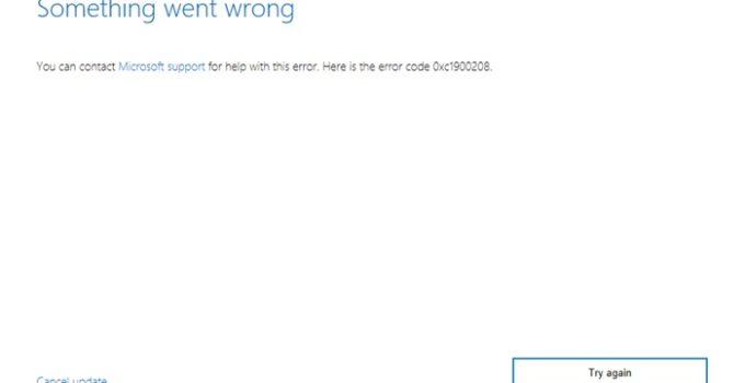 Error Code 0xc1900208 in Windows 10