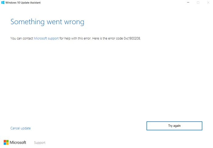 Error Code 0xc1900208 in Windows 10