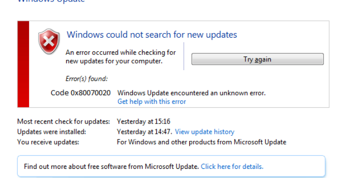 Windows Update Error 0x80070020